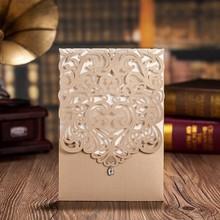 100pcs Vertical Gold Classic Style Engagement Wedding font b Invitations b font Cards font b Custom