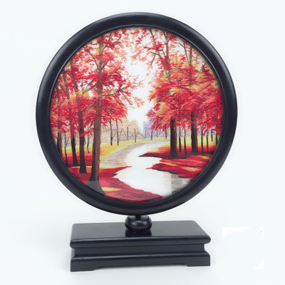 Hand Double-side Suzhou Embroidery Ebony Frame Base Decoration Ornaments Home Decor Table Screen Crafts High End Chinese Gifts