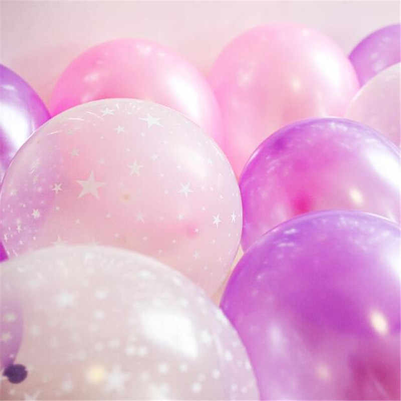 10inch Pink Balloons 2.8g Transparent Balloons Latex Helium Balloon Happy Birthday Clear Stars Thick Ballon Party Decor Supplies