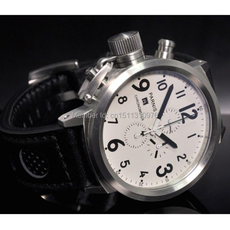 Saatler'ten Kuvars Saatler'de 50mm Parnis Büyük Yüz beyaz kadran gün tarih erkek quartz saat Tam chronograph P37'da  Grup 1