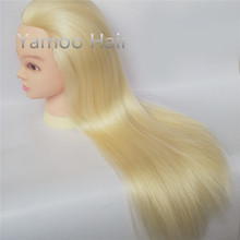 68cm Yaki Blonde color Hairdressing Training hair Manequin Head female beautiful High Temperature Fiber hair styling mannequins