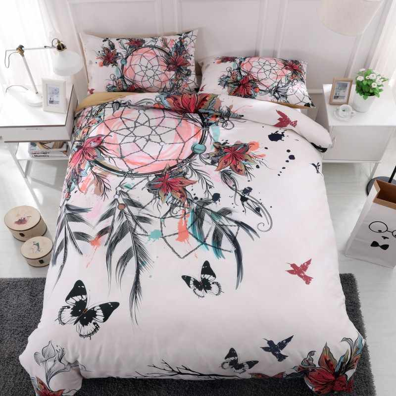 Fanaijia dream catcher Bedding Set King size Bohemian Print Duvet Cover set with pillowcase 3pcs AU Queen Bed best gift bedline