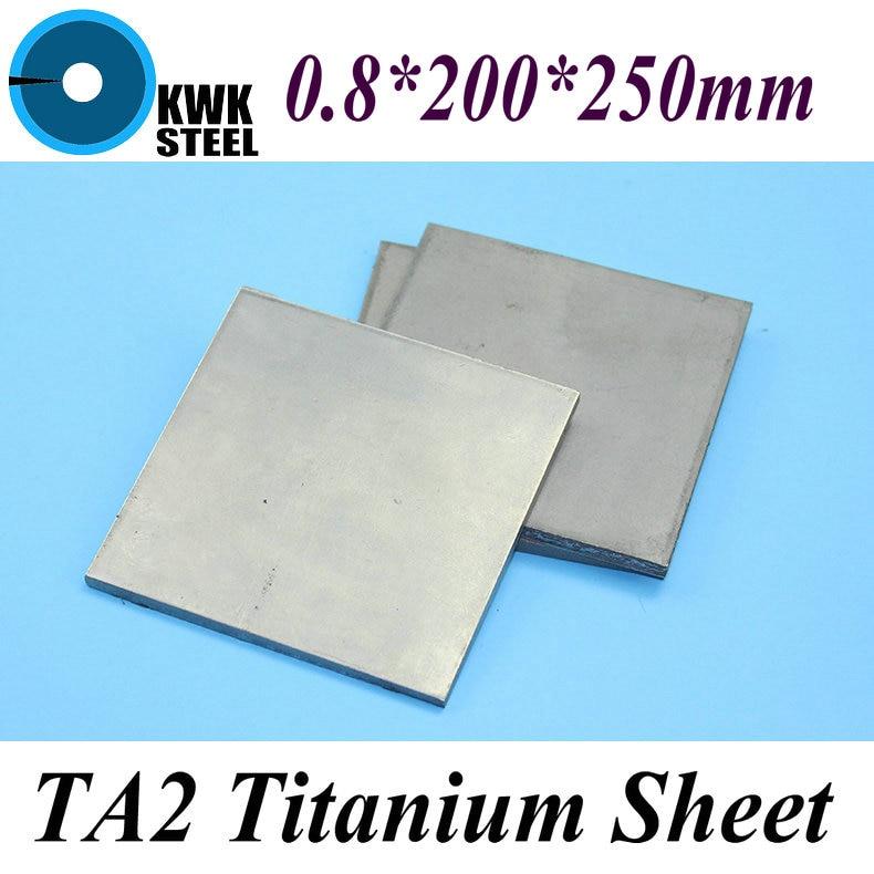 0.8*200*250mm Titanium Sheet UNS Gr1 TA2 Pure Titanium Ti Plate Industry Or DIY Material Free Shipping