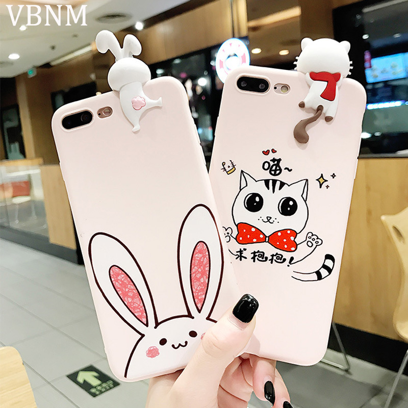 Cartoon Cute Pink Bunny Rabbit Case For iPhone X 7 6 6S 8 Plus Case For iPhone 7 Plus Soft TPU Silicone Back Cover Capa Fundas iPhone
