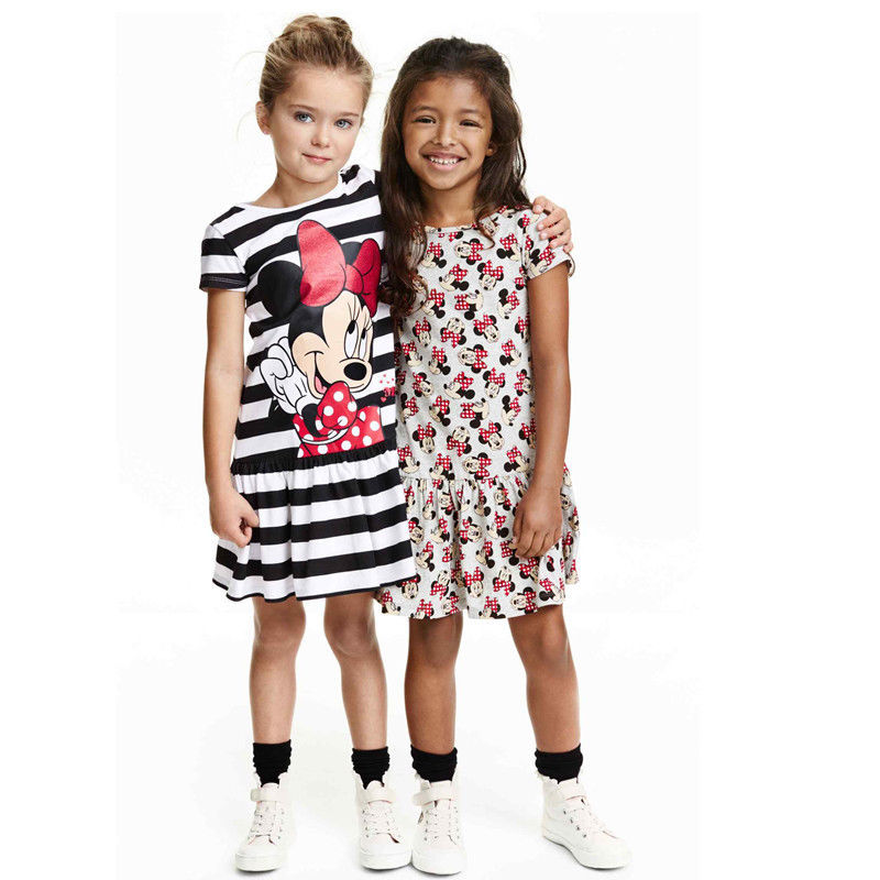 3 97 10 De Réduction Bébé Fille Robe D été Style Dessin Animé Impression Petite Fille Mignonne Robe Enfants Vêtements à Manches Courtes Rouge