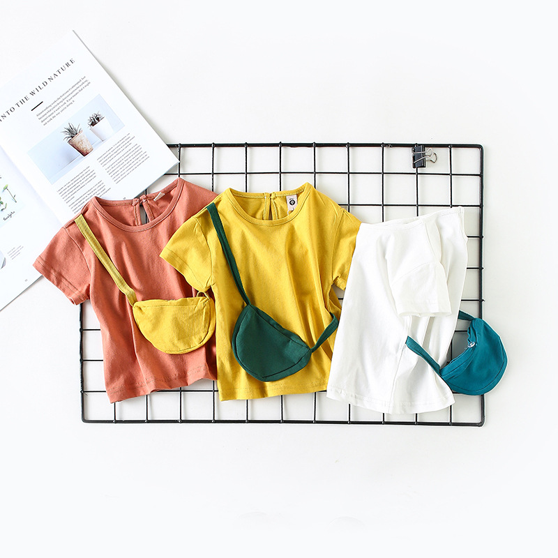 Baby Girls T Shirts Cotton Baby Girl Short Sleeve Kids Cloths Blouse Summer Style T-shirt with Bag Infant Top Free Drop Shipping
