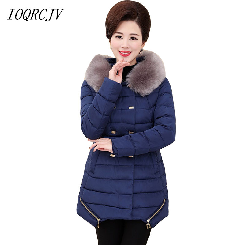 2018 Women Winter Down Cotton Padded Fur Collar Hooded   Parkas   Jacket Coat Long Outerwear Plus Size 5XL S24