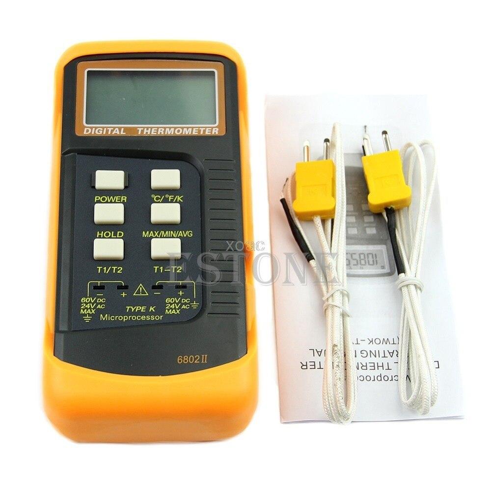 Double deux canaux 2 K-Type thermomètre numérique Thermocouple capteur 1300C 2372F M04 livraison directe