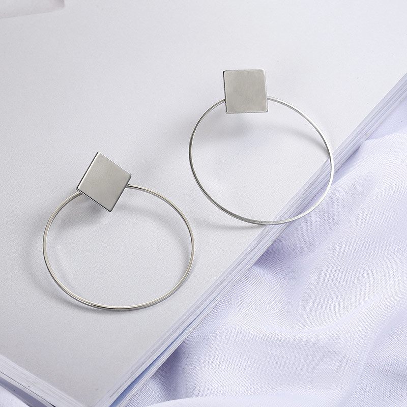 Simple Style Fashion Silver Gold Color Earrings for Women Square Round Geometric Hanging Earrings 18 Female Pendientes Jewelry 17
