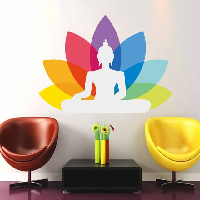 Colourful Sitting Buddha Design Mural Wall Stickers Spiritual Yoga Decal Removable Self Adhesive Wallpaper Home