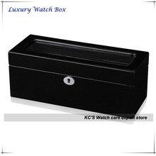 Alta calidad negro Grossy acabado de madera caja de reloj 5-slots con doble capa para RLX reloj tapa transparente GC02-LG1-05BB