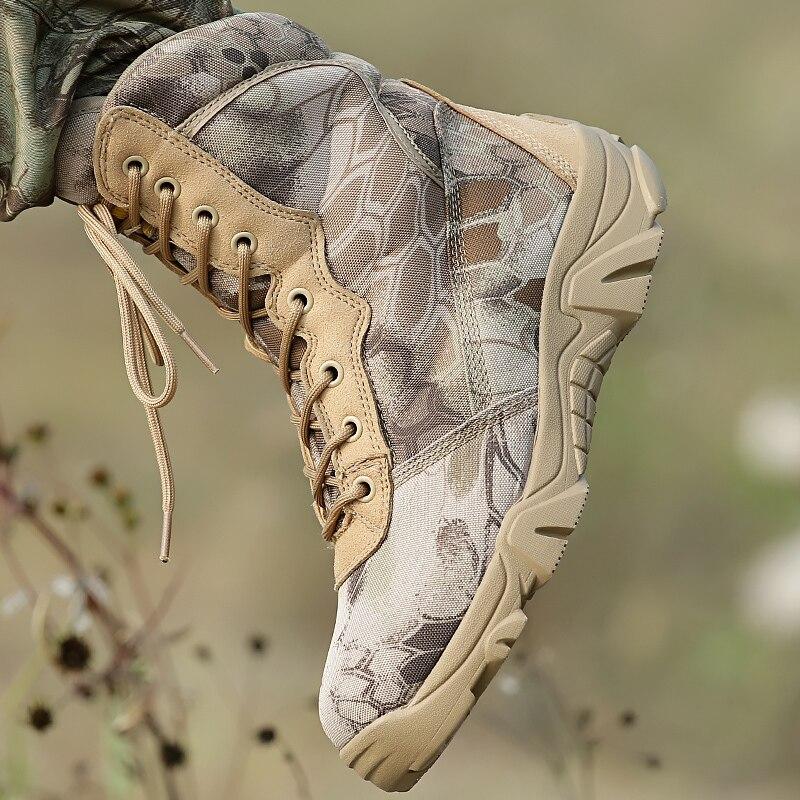 Escalade en plein air randonnée bottes tactiques armée de Combat militaire antidérapant garder au chaud montagne chasse Camouflage hommes femmes chaussures