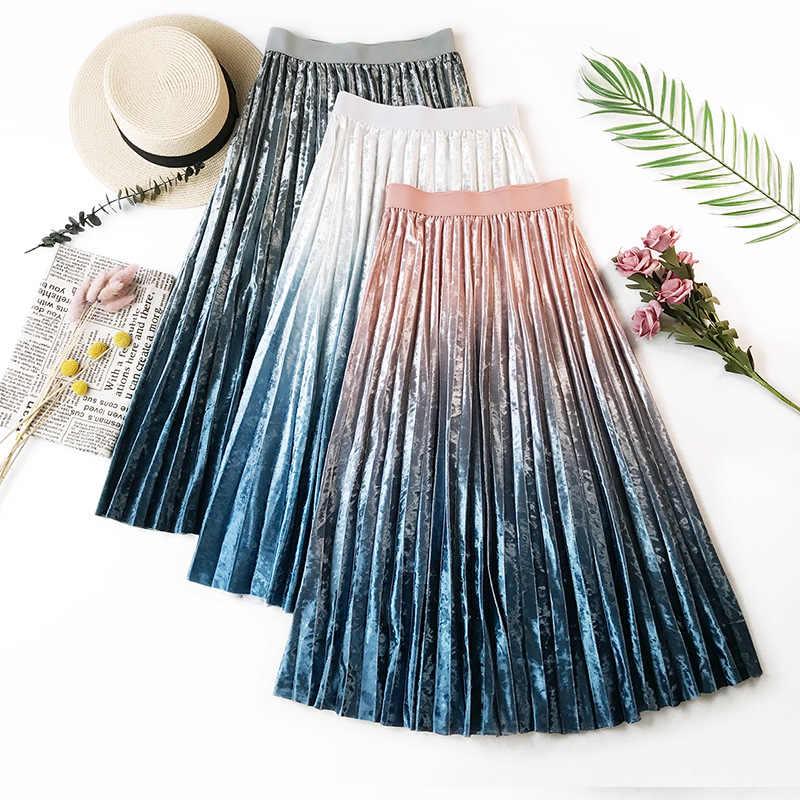 cb0d344e1b2 Wasteheart Gray Pink Women Skirts High Waist Pleated Mid-Calf Length Skirt  Ball Gown Clothing
