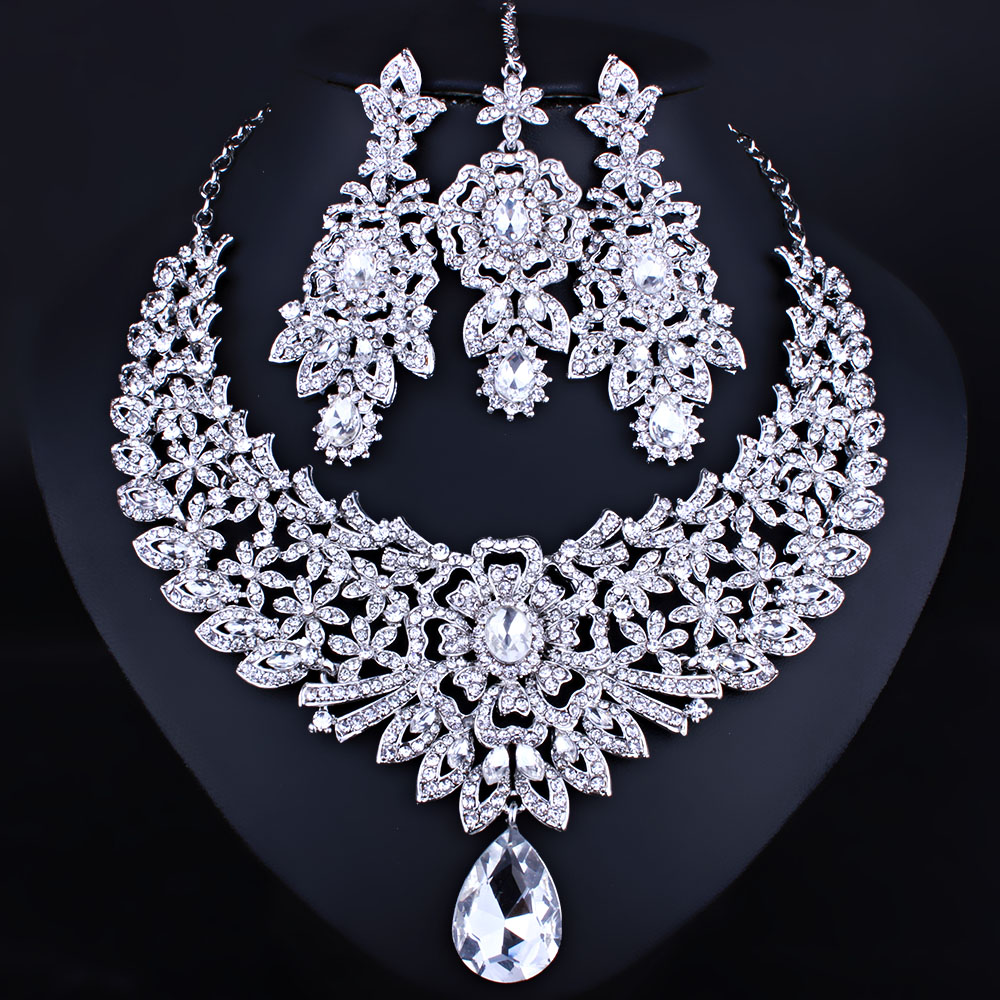 FARLENA Wedding Jewelry Classic Indian Bridal Necklace Earrings and Frontlet set Luxury Crystal Rhinestones Jewelry sets