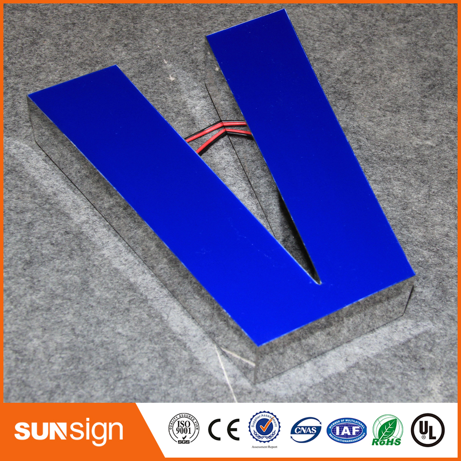2016 Easy To Wall Mounted Facelit Resin Company Name Letter Sign With Led Light