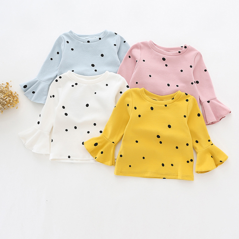 Oklady 2017 Autumn New Children's T-shirt Korean Girl Cotton Long-sleeved T Polka Dot Round Neck Lotus Leaf Sleeve Shirt