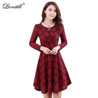 Lionstill Nouvelle Mode Feuilles Robe Femmes Sexy & Club Casual tissu O-cou Dentelle Robe Dame Automne Printemps Slim Robes Plus taille
