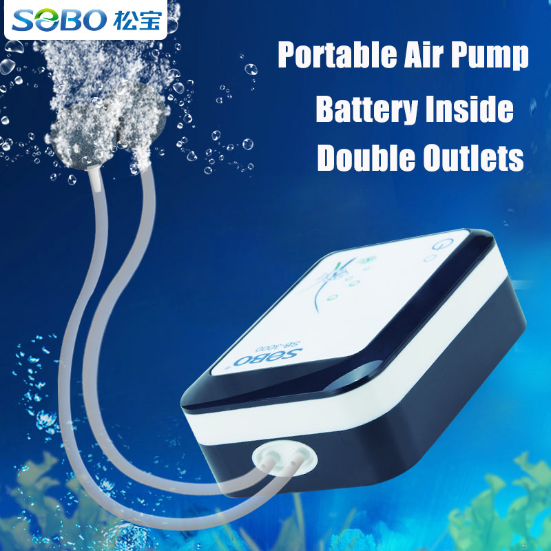 SOBO Battery Storage Air Pump AC/DC Dual Use For Aquarium Fish Tank Portable Air Pump For Fishing USB Charge Or Plug Charge
