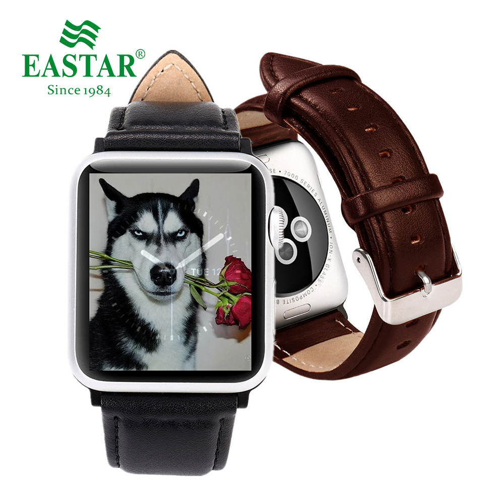 Eastar Black Connector Leather Watchband for Apple Watch Band Series 3/2/1 Sport Bracelet 42 mm 38 mm Strap For iwatch Band mu sen woven nylon band strap for apple watch band 42mm 38 mm sport fabric nylon bracelet watchband for iwatch 3 2 1 black