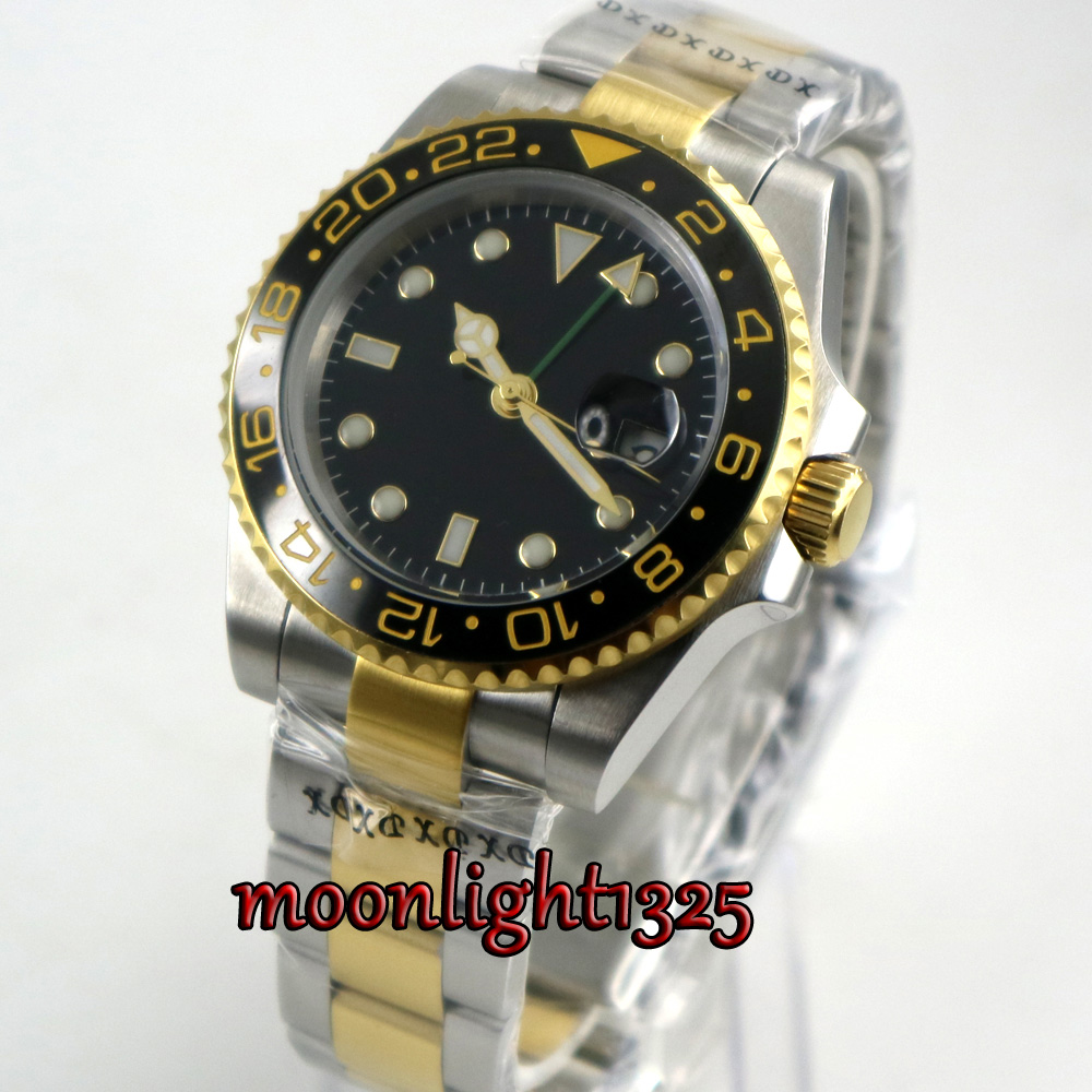 40mm bliger black dial sapphire glass black ceramic bezel GMT date automatic mens watch цена и фото