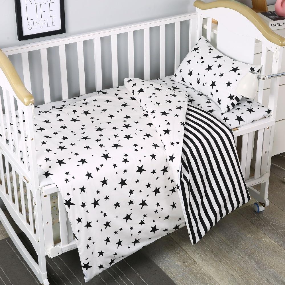 3Pcs Cotton Crib Bed Linen Kit For Boy Girl Cartoon Cheap Baby Bedding Set for Baby