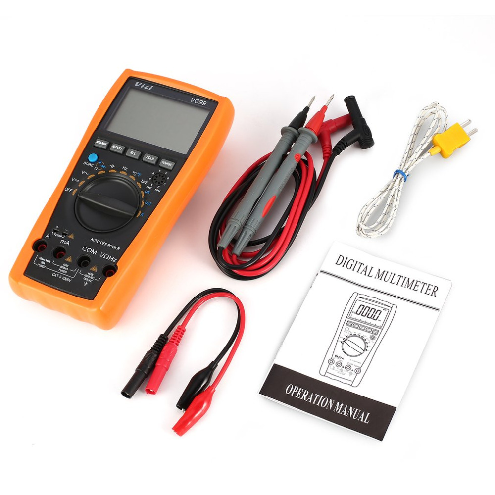Dropship VC99 Digital Multimeter 5999 Counts Auto/Manual Range AC/DC Volt Amp Ohm Capacitance Frequency Temperature Diode Tester цена