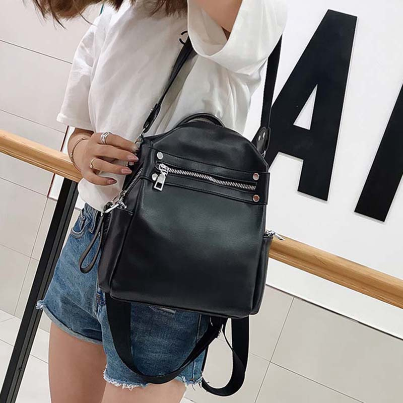 Polymer Simple Multifunction Backpack Fashion Ladies Shoulder Bag PU Leather Backpack Travel Bag