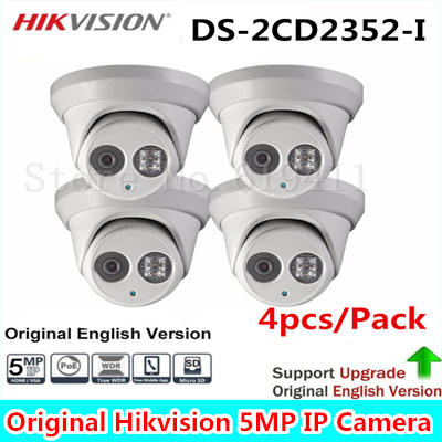 4Pcs 5MP WDR EXIR Turret Network Camera DS-2CD2352-I Dome IP Camera IP66 Weather-Proof Protection Outdoor Security Camera 30m IR hik ds 2ce56d1t it3 hd720p exir turret camera 2 megapixel cmos ip66 weatherproof turret camera with 40m ir home security camera