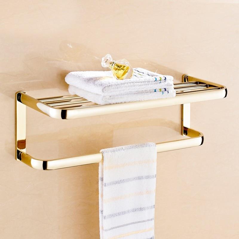 Wall Mount Brass Gold Bathroom Accessory Bath Towel Shelf Towel Bar ...