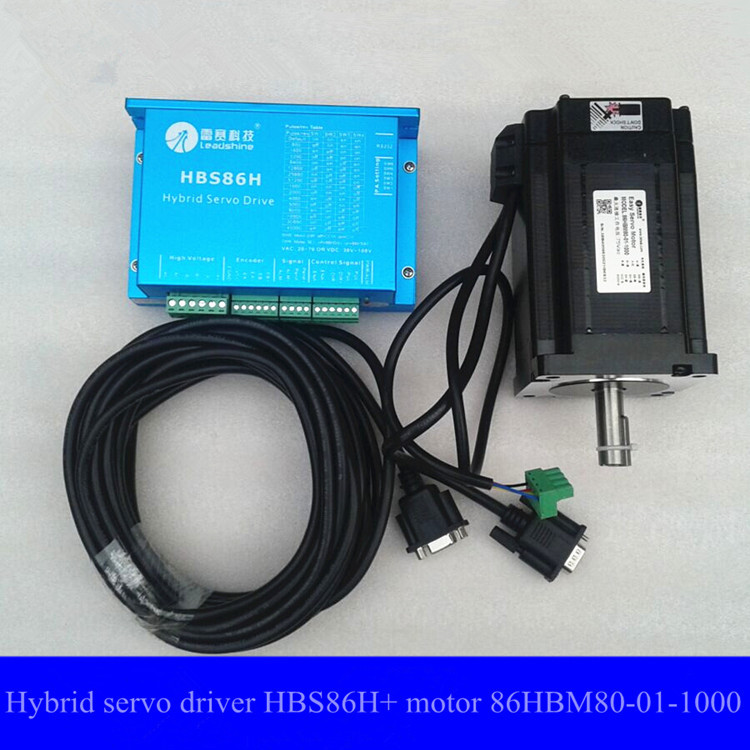 Leadshine Easy Servo Products CNC system Hybrid servo system HBS86H driver and Hybrid servo motor 86HBM80-01-1000 new 400w leadshine ac servo motor acm604v60 01 1000 work 60v run 3000rpm 1 27nm encoder 1000 line work with servo driver acs806