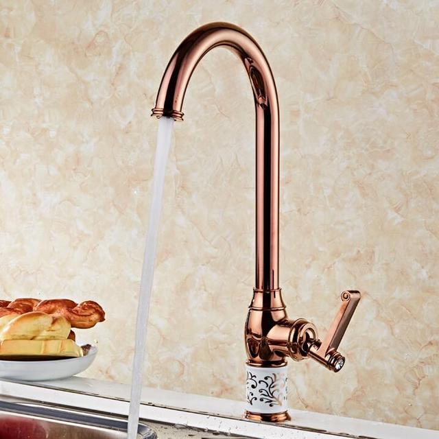 Neue Küche wasserhahn Rose Goldene Kupfer für kalt und wasserhahn ...