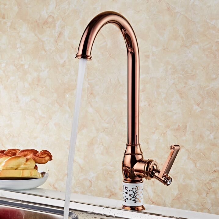 New Kitchen faucet Rose Golden Copper for cold and hot water tap Sink faucet Vegetable washing basin 360 degree rotating faucet mttuzk kitchen faucet golden rose gold copper for cold and hot water tap sink faucet vegetable washing basin 360 rotating faucet
