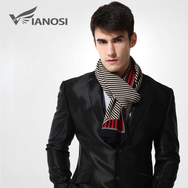 [VIANOSI] 2016 Fashion Design Striped Scarf Men Wool Shawl Winter Warm Scarves Luxury Wrap Echarpe Man Business Scarf BrandMA006