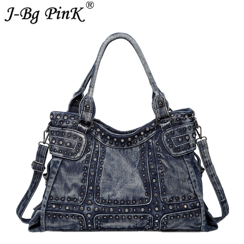 2018 Vintage Fashion Women Bag Denim High capacity Diamond Rivet Jeans Women's Handbags Women's Shoulder Bag Casual Tote noenname null 1pcs dsg stronic automatic gear shift knob