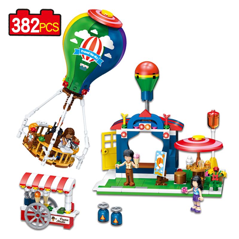 Travel in the Balloon City Fun Park Compatible Legoe Restaurant Carriage 382PCS Building Block Bricks Action Figure toys Gift psmith in the city