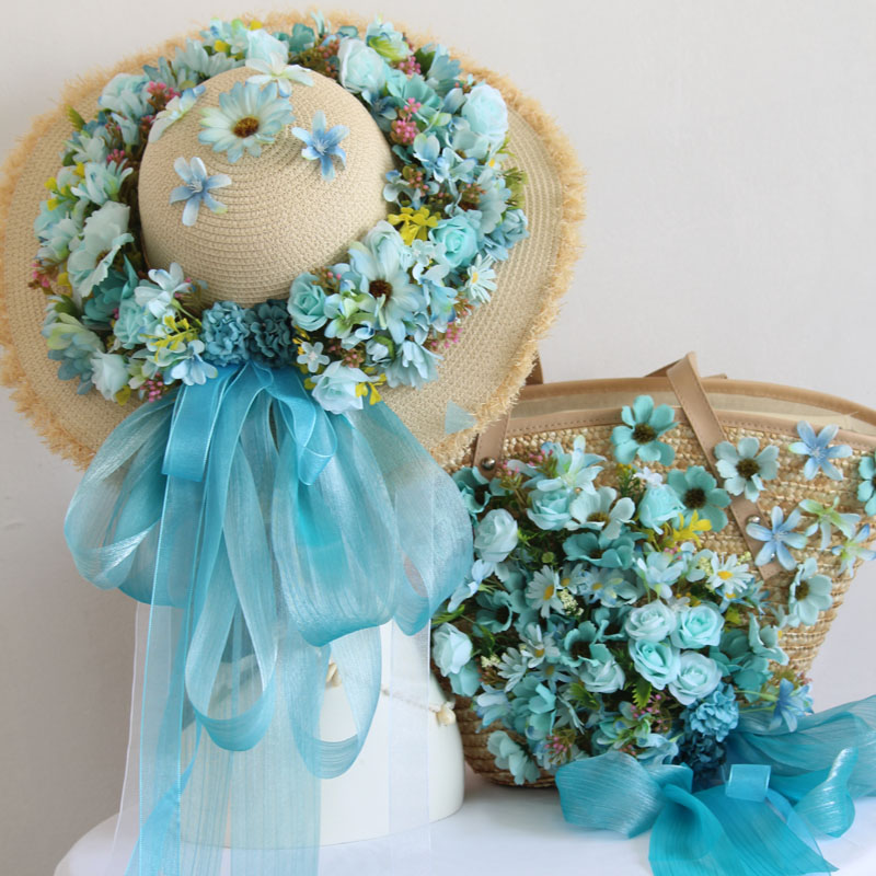 Sac de paille fleurs bleues soie belle fée Design Original ruban Photo chapeau de soleil crème solaire mariage mariée voyage de lune de miel plage