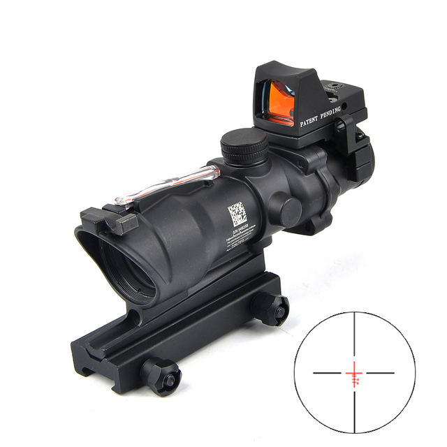 ACOG 4X32 Red Dot Sight Scope Real Red Fiber Riflescope Red Illuminated Rifle Scope w/ RMR for Airsoft Rifle Caza