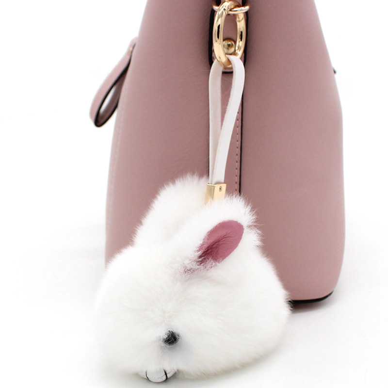 Super Cute Little Rabbit Pendant Meng Rabbit Hair Plush Rabbit Fur Female Bag Hanging Jewelry Car