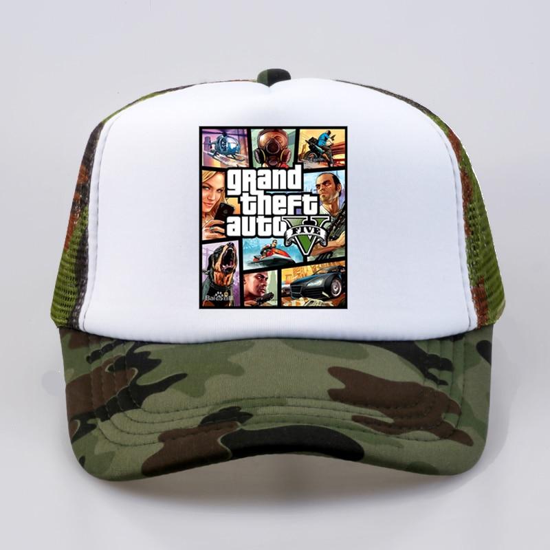 Fashion Grand Theft Auto V 5 Gta 5 Baseball Caps Hot Game Gta 5 Fans Cap Cool Summer Mesh Net Trucker Caps Hat