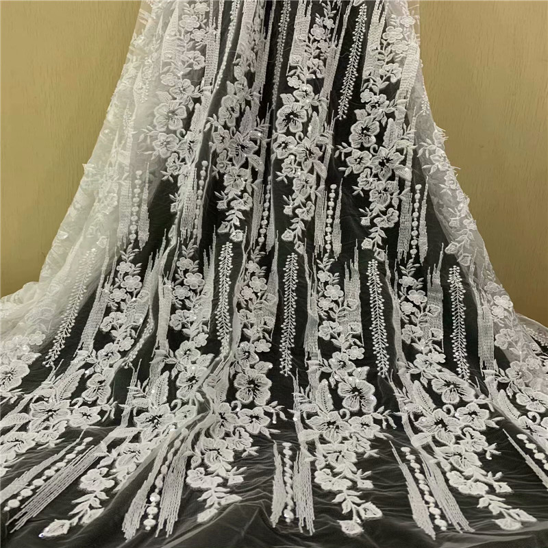 High Quality French Lace Embroidery Nigerian Lace Fabrics White Sequin Wedding African Lace Fabric Tulle High Quality Lace X1449High Quality French Lace Embroidery Nigerian Lace Fabrics White Sequin Wedding African Lace Fabric Tulle High Quality Lace X1449