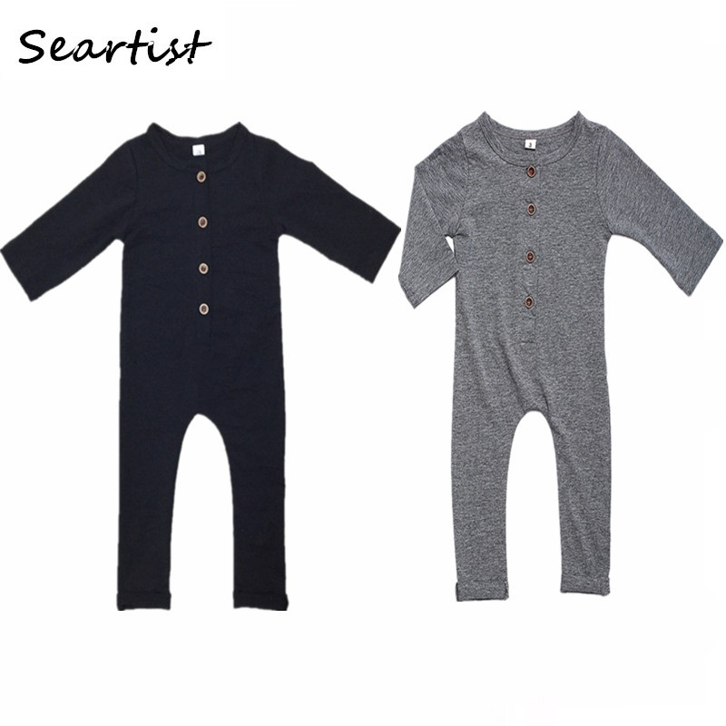Seartist Baby Boys Rompers Kids Newborn Plain Black Gray Jumpsuit Bebes Pajamas Jumper Baby Boy Clothes Body Suit 2019 New 40