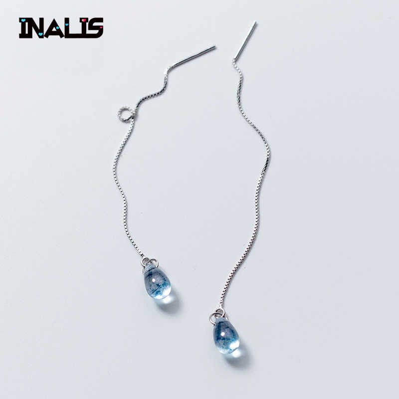 INALIS New Fashion Blue Drop-shaped Ear Line 925 Sterling Silver Earrings Female Temperament Long Ear Jewelry Brincos Girl Gift