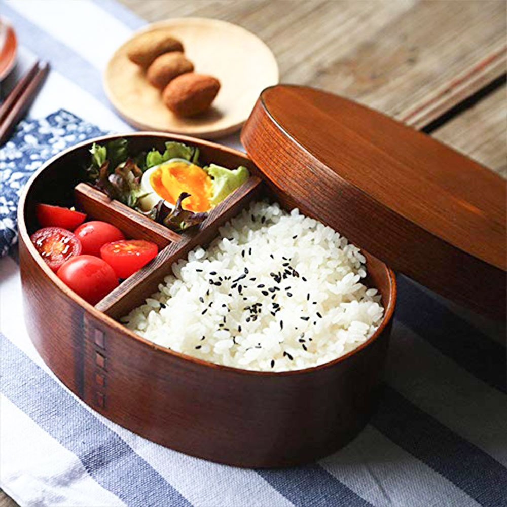 Wooden Japanese <font><b>Lunch</b></font> <font><b>Box</b></font> Wooden <font><b>Lunch</b></font> <font><b>Box</b></font> Durable Sturdy <font><b>Lunch</b></font> <font><b>Box</b></font> Portable for Student Drop Shipping Partition Family image