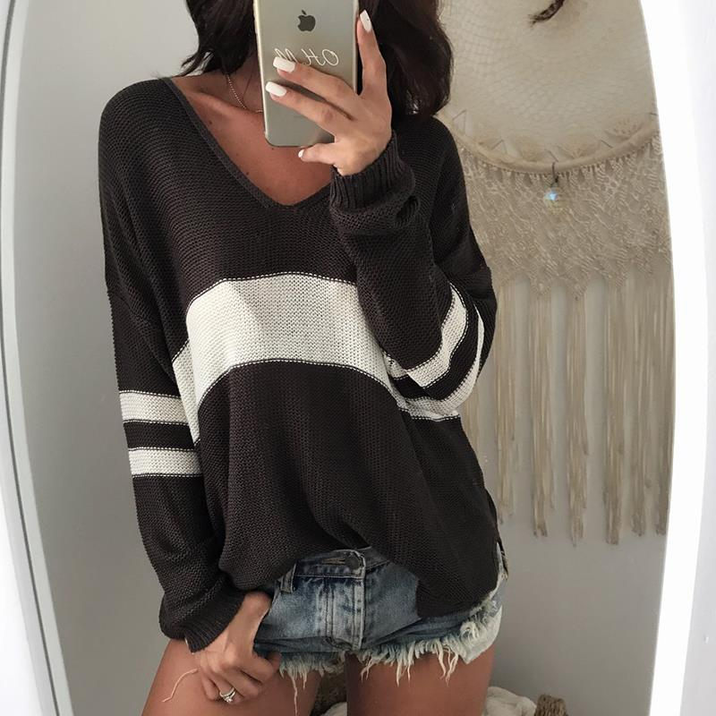 Women Sweater Patchwork V Neck Long Sleeve Sweaters Women Clothing WS3142M