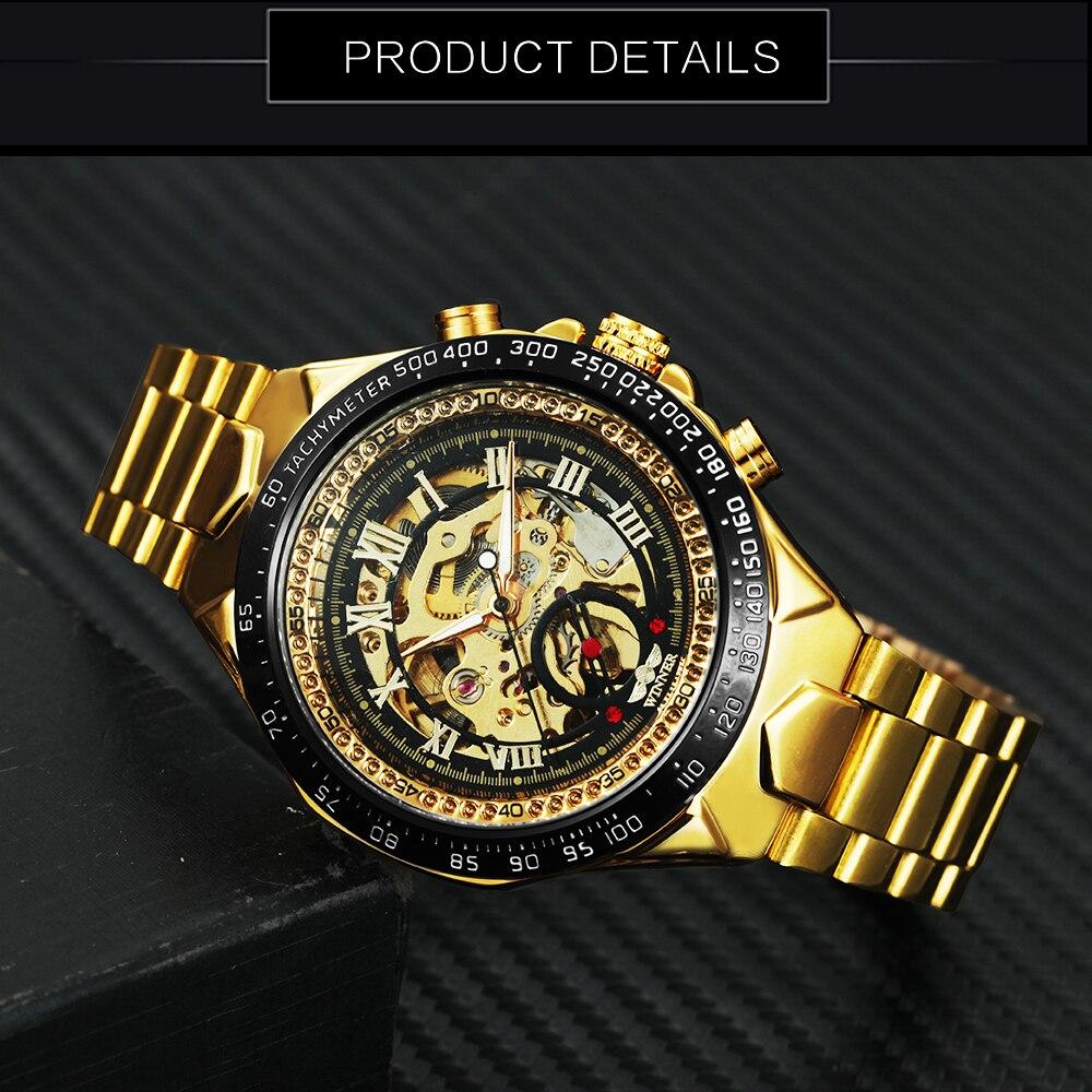WINNER Vintage Fashion Men Mechanical Watches Metal Strap Top Brand Luxury Best Selling Vintage Retro Design Wristwatches +BOX 16