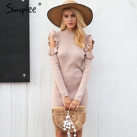 Simplee Cold Shoulder Ruffle Knitted Dress Women Elegant Long Sleeve Winter Bodycon Dress Autumn Sexy Slim