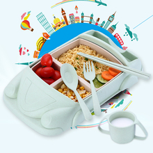 Baby Food Containers Bamboo Fiber Infant training dishes Baby feeding Set Car shape Bowl Cup Plates Sets Children Tableware