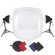 Amzdeal Photo Studio 32x32 Shooting Tent Light Cube Kit with 2xLight Bulb 2x40Light Tripod Stand + 4 Colors Backdrops  CD15
