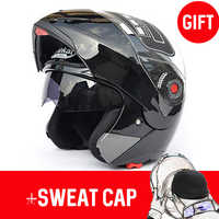 JIEKAI 105 Motorcycle helmets Flip up double visors helmet Racing Full face Moto Casco SizeM-2XL Motorcycle helmets + Sweat cap