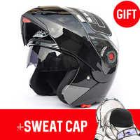 JIEKAI 105 caschi da Moto Flip up doppio visiere Casco Da Corsa del fronte Pieno Moto Casco SizeM-2XL caschi da Moto + Sudore cap